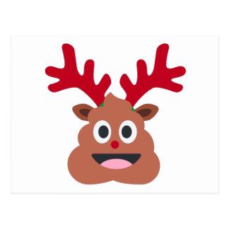 xmas reindeer poo emoji postcard