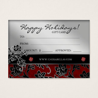 Xmas Salon Gift Card Spa Floral Red Silver