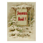 xmas scene with yard sign poster