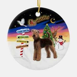 Xmas Signs - Airedale standing Ornament