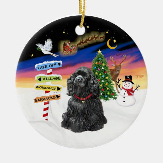 Xmas Signs - Black Cocker Spaniel Ceramic Ornament