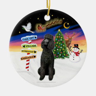 Xmas Signs - Black Standard Poodle Double-Sided Ceramic Round Christmas Ornament