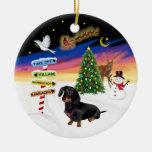 Xmas Signs - Black-Tan Dachshund #14 Double-Sided Ceramic Round Christmas Ornament