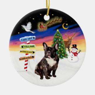 Xmas Signs - Brindle French Bulldog Christmas Tree Ornaments
