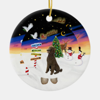 Xmas Signs - Chocolate Standard Poodle Double-Sided Ceramic Round Christmas Ornament