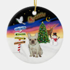 Xmas Signs - Fawn French Bulldog #1 Ceramic Ornament