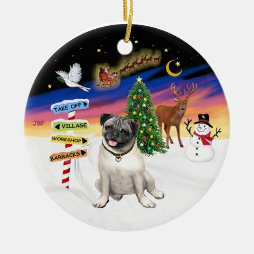 Xmas Signs - Fawn Pug #18 Ornaments