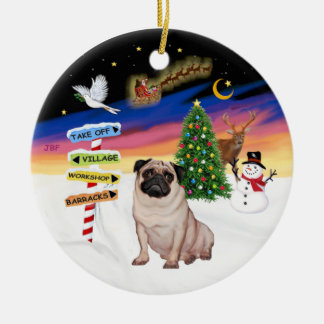 Xmas Signs - Fawn Pug 5 Christmas Tree Ornament