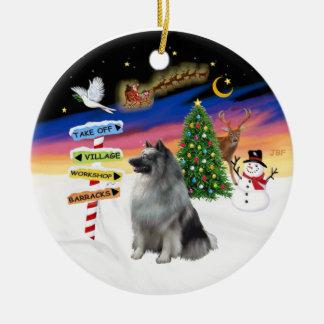 Xmas Signs - Keeshond 1 Christmas Tree Ornaments