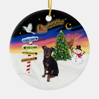 Xmas Signs - Miniature Pinscher (natural) Ceramic Ornament