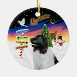 Xmas Signs - Newfie Landseer Double-Sided Ceramic Round Christmas Ornament