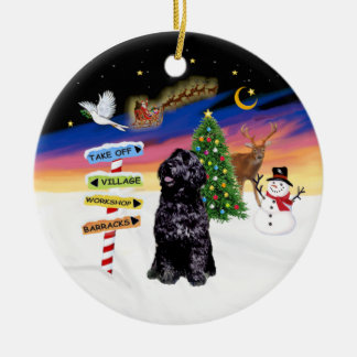 Xmas Signs - Portuguese Water Dog (Sit) Double-Sided Ceramic Round Christmas Ornament