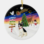 Xmas Signs - Rat Terrier Double-Sided Ceramic Round Christmas Ornament