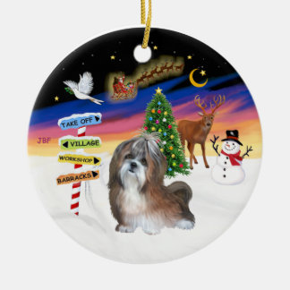 Xmas Signs - Shih Tzu 8B Christmas Tree Ornaments