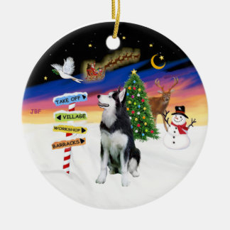 Xmas Signs - Siberian Husky #1 Double-Sided Ceramic Round Christmas Ornament