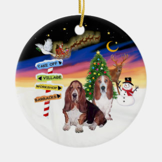 Xmas Signs - Two Bssset Hounds Ceramic Ornament