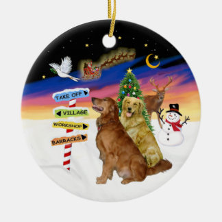 Xmas Signs - Two Golden Retrievers Double-Sided Ceramic Round Christmas Ornament