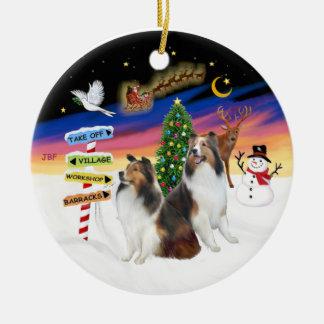 Xmas Signs - Two Shetland Sheepdogs D-L Christmas Ornament
