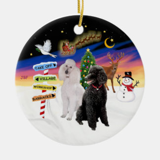 Xmas Signs - Two Standard Poodles (B+W) Double-Sided Ceramic Round Christmas Ornament
