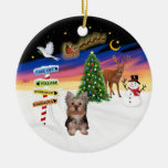 Xmas Signs - Yorkshire Terrier puppy Christmas Tree Ornaments