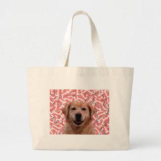 Xmas Smiling Golden Retriever Dog Large Tote Bag