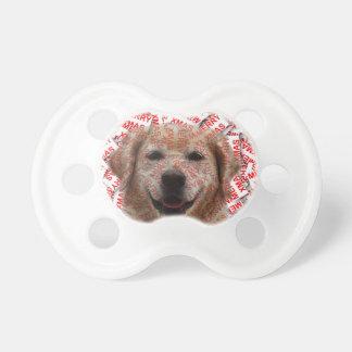 Xmas Smiling Golden Retriever Dog Pacifier