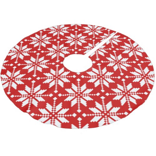 Xmas Snowflake Christmas Pattern Brushed Polyester Tree Skirt