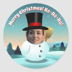 Xmas Snowman With Any Face You Like Classic Round Sticker