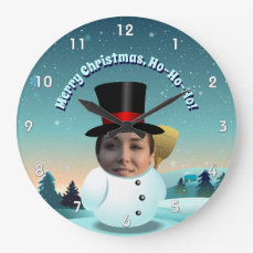 Xmas Snowman With Any Face You Like Large Clock