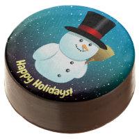 Xmas Snowman With Black Top Felt Hat Chocolate Dipped Oreo