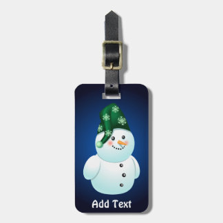 Xmas Snowman With Green Hat Luggage Tag