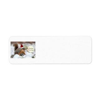Xmas Squirrel in Snow Return Address Label