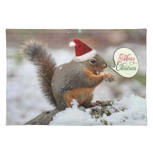 Xmas Squirrel in Snow Placemats