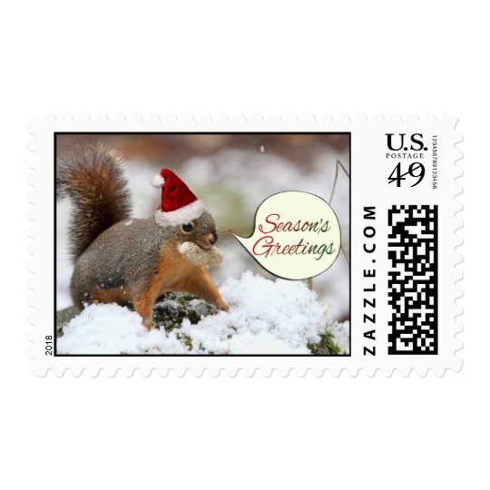 Xmas Squirrel in Snow Postage