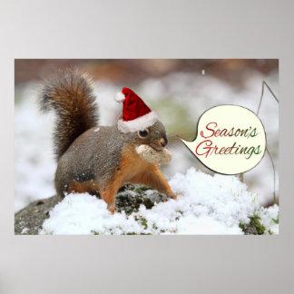 Xmas Squirrel in Snow Poster