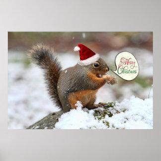 Xmas Squirrel in Snow Posters