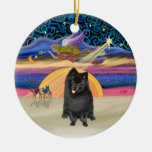 Xmas Star - Black Pomeranian Christmas Ornaments