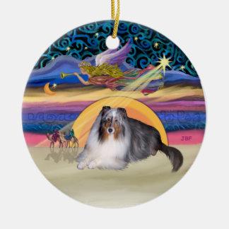 Xmas Star - Blue Merle Sheltie Double-Sided Ceramic Round Christmas Ornament