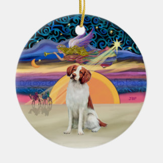 Xmas Star -  Brittany Spaniel Ceramic Ornament