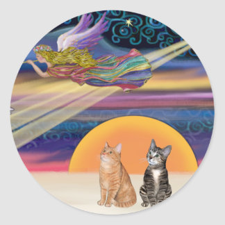 Xmas Star - Brown and Orange Tabby cats (two) Classic Round Sticker