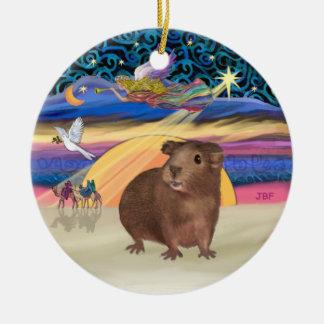 Xmas Star - Brown Guinea Pig Ceramic Ornament