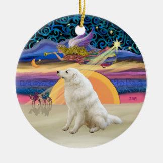 Xmas Star - Kuvasz #2 Double-Sided Ceramic Round Christmas Ornament