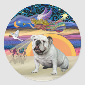 Xmas Star (R) - English Bulldog (white) Sticker
