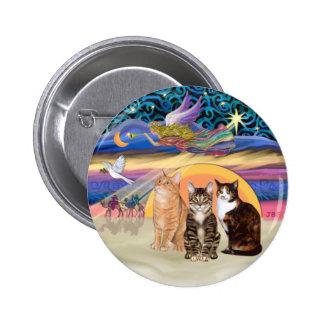 Xmas Star (R)  -Three cats (AmSH) Pinback Buttons