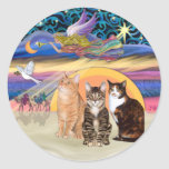 Xmas Star (R)  -Three cats (AmSH) Round Stickers