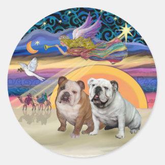 Xmas Star (R) - Two English Bulldogs Round Sticker