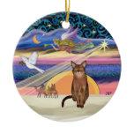 Xmas Star - Ruddy Abyssinian cat Christmas Ornament