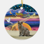 Xmas Star - Russian Blue cat Double-Sided Ceramic Round Christmas Ornament