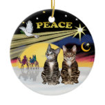 Xmas Star -Two Tabby cats (AmSH) Ornaments