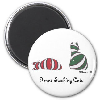 Xmas Stocking Cats Magnet